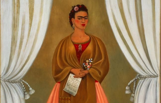 Frida Kahlo, Self-Portrait Dedicated to Leon Trotsky - See more at: http://www.nmwa.org/works/self-portrait-dedicated-leon-trotsky#sthash.RuY3XsRk.dpuf