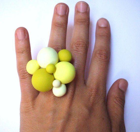 Ulala - Bague en Pâte Polymère couleur Citron.                              …