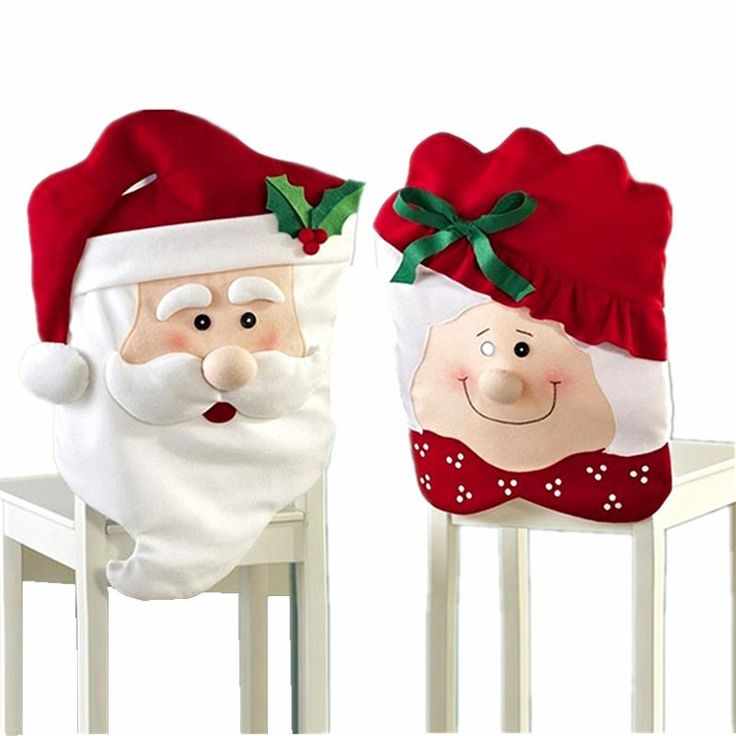 2016 Newest Xmas Dinner Table Decoration Ornament Large Thick Mr & Mrs Santa Claus Christmas Chair Covers For Home