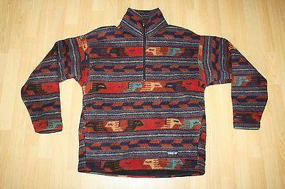 Men PATAGONIA Jacket Medium Orange Western Fleece Pullover ... Cool Patterns Tumblr Aztec