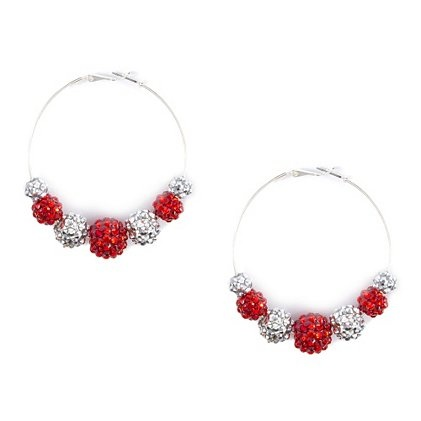 For a sparkly Valentine's Day look, add these Shamballa Style Hoop Earrings