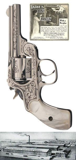 Engraved Iver Johnson Top Break Revolver with Swift Marking and Pearl Grips, ca 1896 U.S.A.: