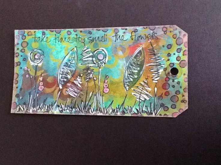 Tag using inks and JOFY stamps by PaperArtsy.