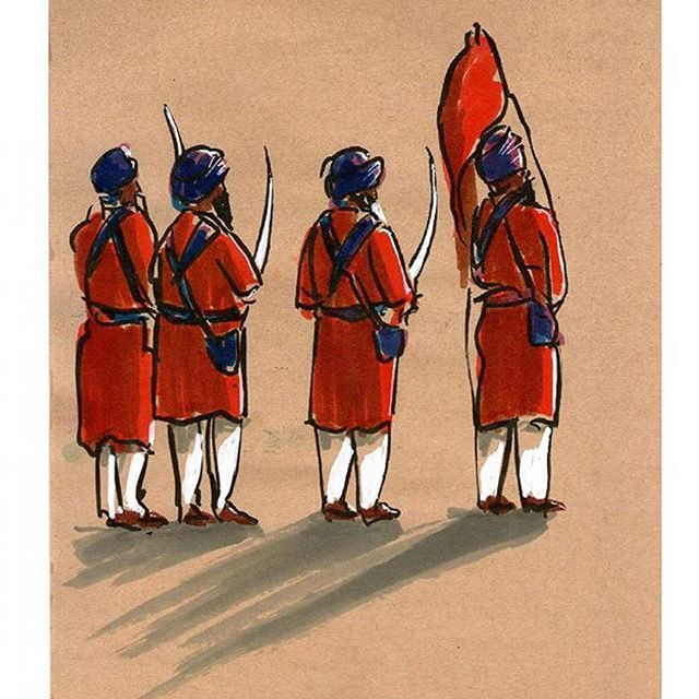 the artist's canvas love the simplistic and creative approach to drawing by Juan Linares who created this sketch drawing of Sikhs in Barcelona Spain.