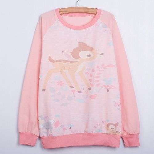 New 2015 harajuku musim gugur gaya tipis perempuan adventure time hoodies, beast dicetak kaus, Olahraga tiger sweatshirt Moleton-in Hoodies & Sweatshirts from Women's Clothing & Accessories on Aliexpress.com | Alibaba Group Bambi trykk