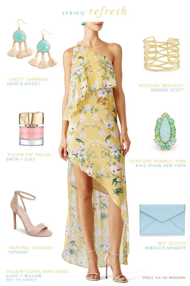 pretty yellow printed dress spring wedding