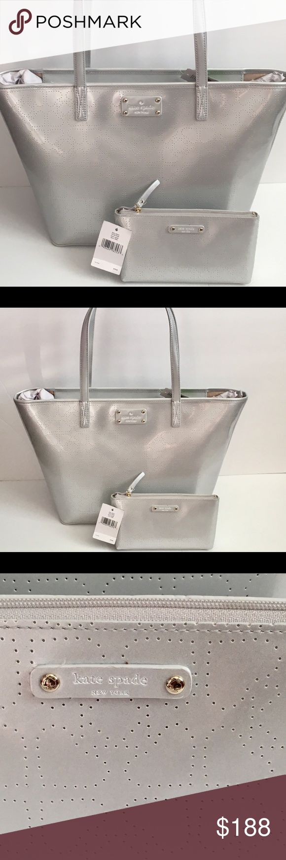 Kate Spade Tote Purse and matching Makeup Bag Kate Spade Silver Tote Bag And Matching Makeup Bag brand new with tags on both. kate spade Bags Totes