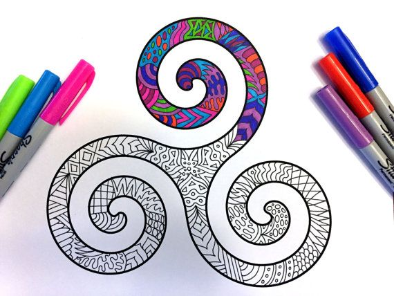 Karma Symbol PDF Zentangle Coloring Page por DJPenscript en Etsy