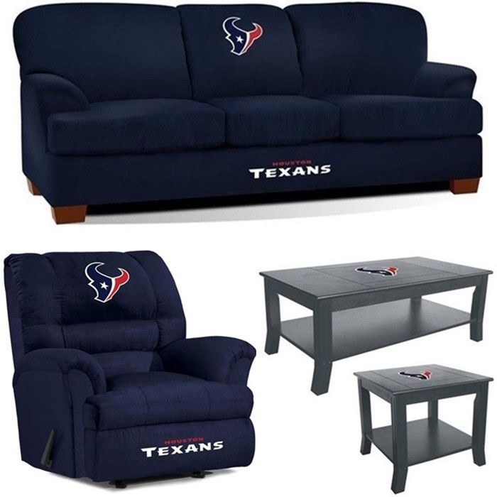 [[start tab]] Description The Houston Texans NFL Mega Fan Cave Set is made for the Big and Tall Fan. Plus, we have added the matching Coffee Table and Side Table to complete the Set. The First Team So