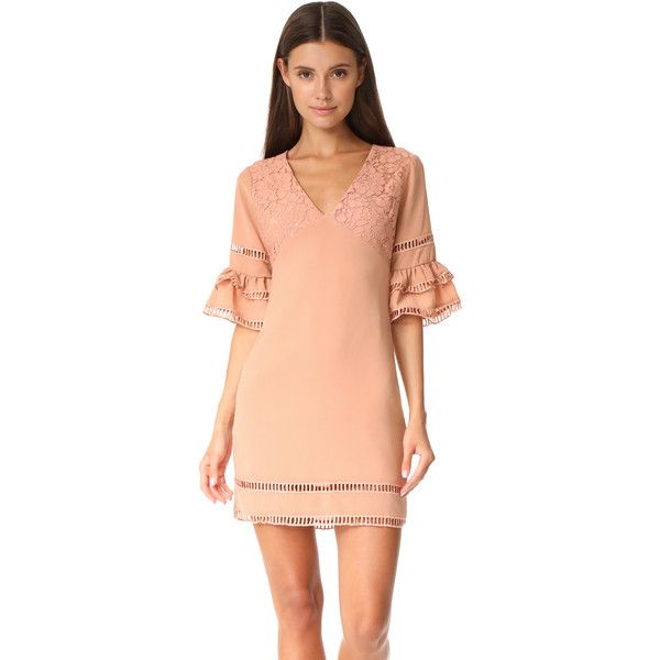 endless rose Ruffled Sleeve Dress with Trim Detail ($115) ❤ liked on Polyvore featuring dresses, nude peach, lace sleeve cocktail dress, red cocktail dress, lace dress, cut out dresses and red cut out dress
