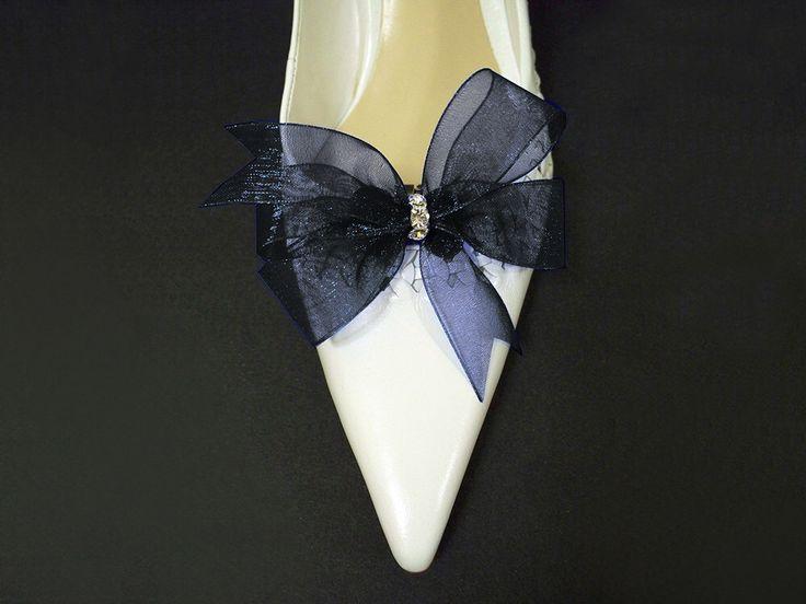 Something Blue Accessories Bridal Shoe Clips in Navy Blue Organdy Bow Swarovski by floreti on Etsy https://www.etsy.com/listing/197932813/something-blue-accessories-bridal-shoe