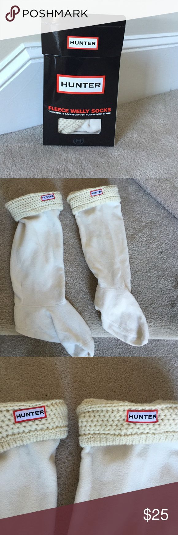 Hunter Cable Cuff Welly Socks M/L Med- Lg Cream Color worn once Hunter Other