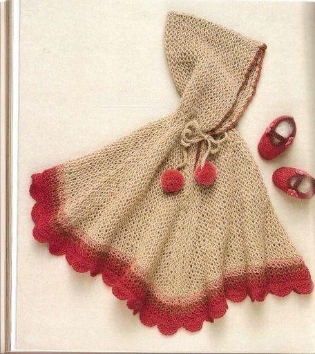 kırmızı ponponlu kapşonlu bebek pelerin modeli