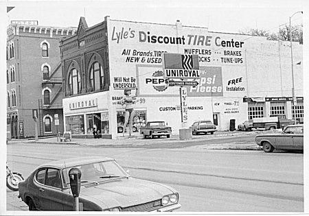 Photograph of Lyle's Discount Tire Center, 201 West Broadway. Council Bluffs, Iowa. 1973.