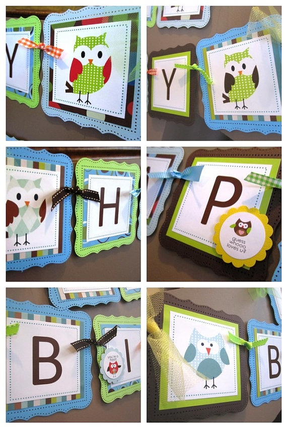 Customize your little ones birthday banner with  this cute owl theme