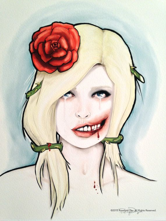 Girl with Glasgow Smile Print {Indirectly it Continues}