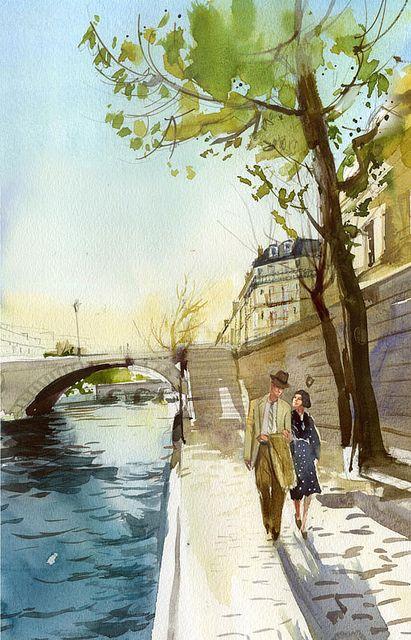 Une ambiance superbe. Simplicité apparente mais foisonnement de détails qui posent le feeling poétique et romantique de la scène. - watercolor couple