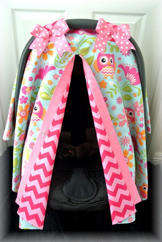 carseat canopy car seat cover owls blue pink by JaydenandOlivia.com