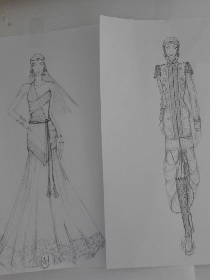 Today, after a long time I grab a pencil and designed something...... simple ....   I had an #inspiration ...  #India #Influences #fashiondesign