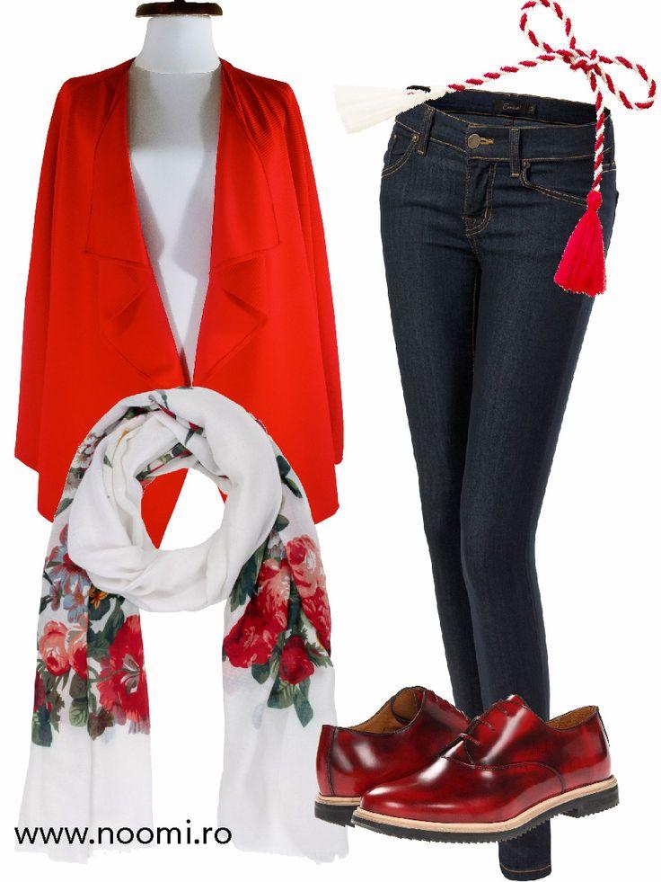 Tinuta de Martisor cu blazer-ul din jerse rosu creat de Noomi, esarfa colorata si pantofi Oxford.