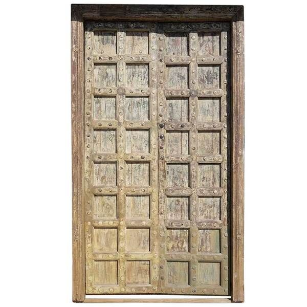 Large Indian Yellow Painted Teak And Iron Mounted Clavos Double Door And Jamb Yellow Painting Antique Doors Double Doors