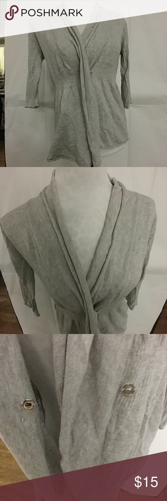 Zara gray shawl collar cardigan Gray shawl collar cardigan by Zara.  Has one snap closure in front and gathers across the back waist.  Sleeves are 3/4 length.  In excellent used condition (no rips, tears, or stains.) Zara Sweaters Cardigans