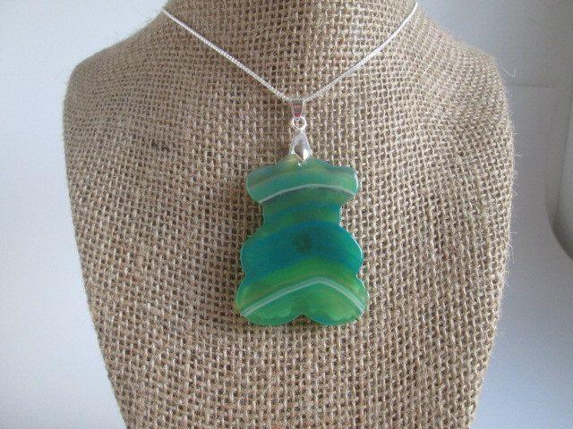 Beautiful Multi-Color Green Onyx Agate Bear Shaped Necklace Pendant http://etsy.me/2HPhBps #SpuzzoWoodworking #jewelry #birthday #Malachite #boho #bracelet #surferbracelet #chakra #womensjewelry#spuzzosdeals #birthday #Malachite SpuzzosWoodworking.com