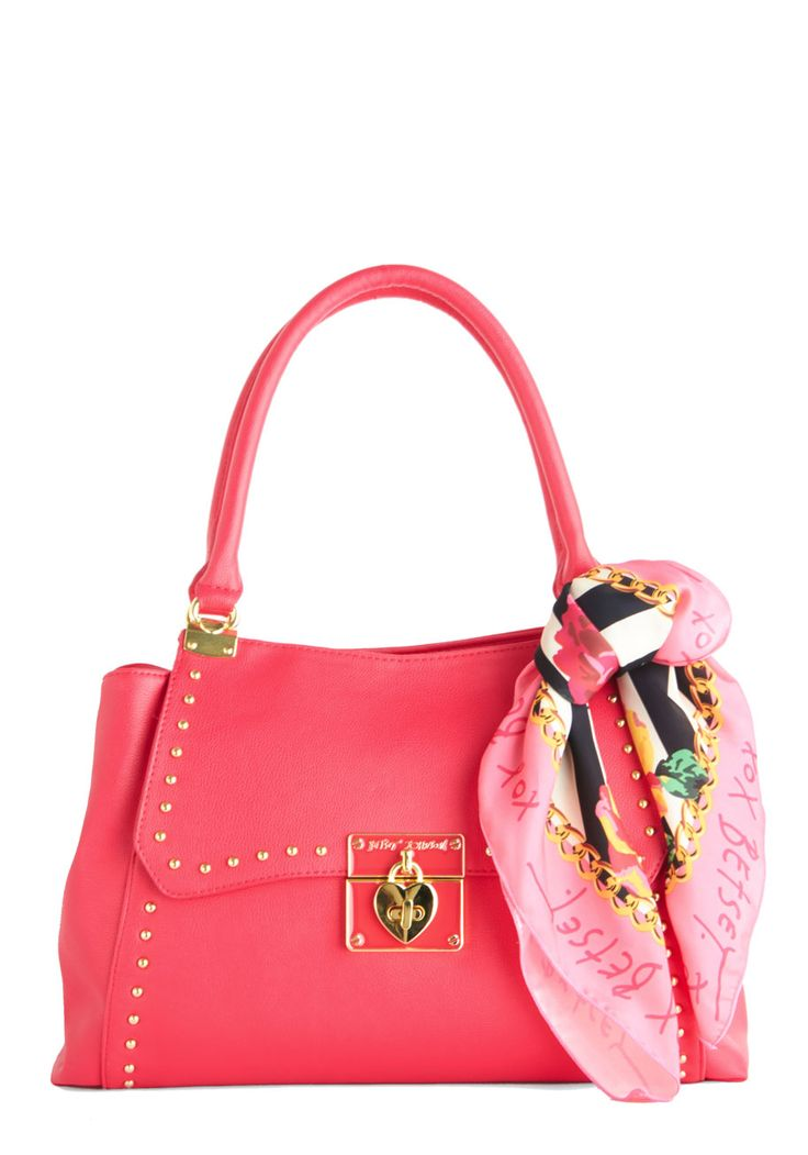 Betsey Johnson Bustling Beauty Bag. From morning meetings to dinner and drinks after work - with countless stops in between - its easy to see why you rely on this fuchsia shoulder bag by Betsey Johnson to tote all of your day-to-day essentials! #pink #modcloth