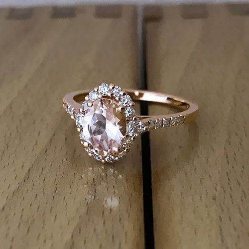 Oval Pink Peach Morganite Halo Engagement Ring by GalaxyDiamonds #halorings