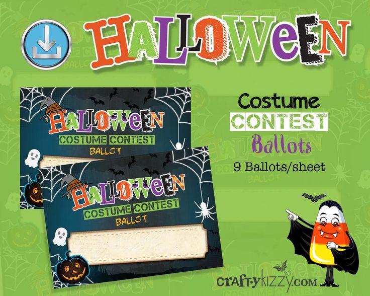 Halloween Costume Contest Ballot Tags Voting Cards #halloweenballot #halloween #halloweencard