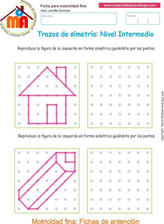 Ejercicio 06 nivel intermedio: Actividades escolares de trazos de simetría para desarrollar la memoria y la atención con los niños.