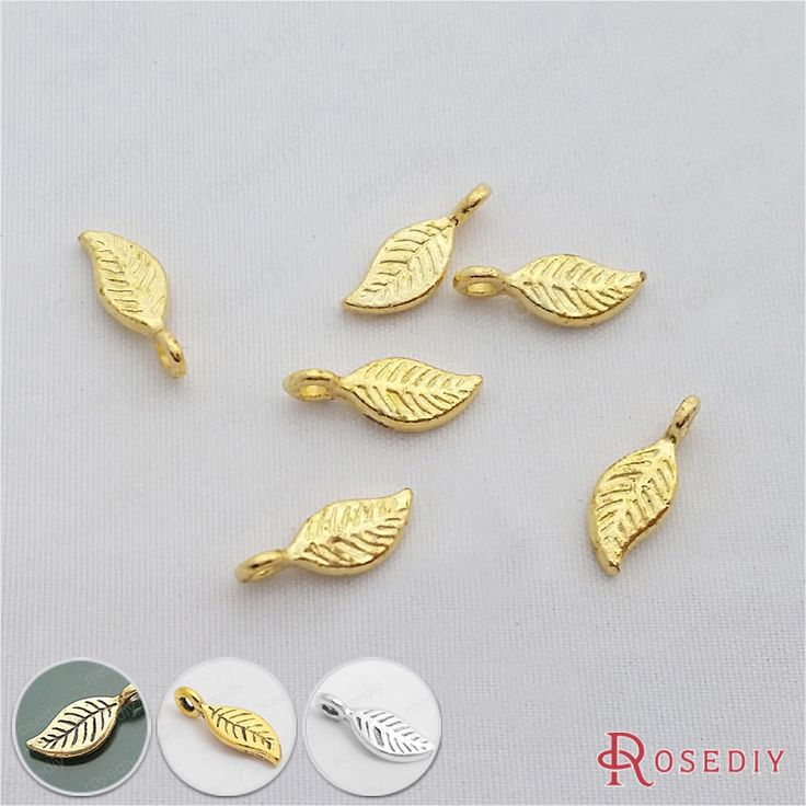 (29184)50PCS 11*5MM Gold Color Plated Zinc Alloy Tree Leaf Leaves Charms Diy Handmade Jewelry Findings Accessories Wholesale