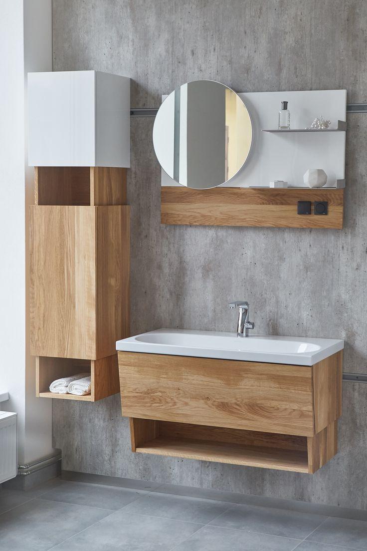 Inspirace do vaší koupelny od českého výrobce koupelnového nábytku Dřevojas. Moderní koupelna se skříňkou s umyvadlem s neobvyklou nikou.