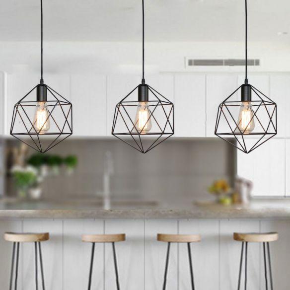 1 Light Geometric Cage Pendant Light Industrial Black Metal Hanging Lamp For Kitchen I In 2020 Kitchen Island Lighting Pendant Cage Pendant Light Island Pendant Lights