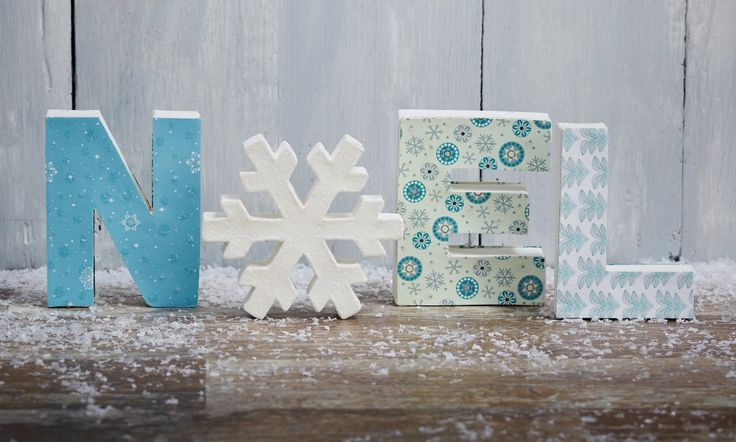 Add a bit of sparkle to your home with these gorgeous 'Noel' mache letters. The icy blue colours and sprinkle of glitter is perfect for Christmas time!