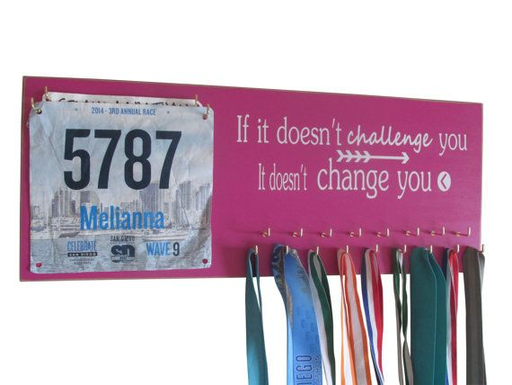 SERIOUSLY THIS IS AWESOME!!! I REALLY WANT ONE!!!! Running Medal Holder and Race Bib Holder by runningonthewall, $44.99