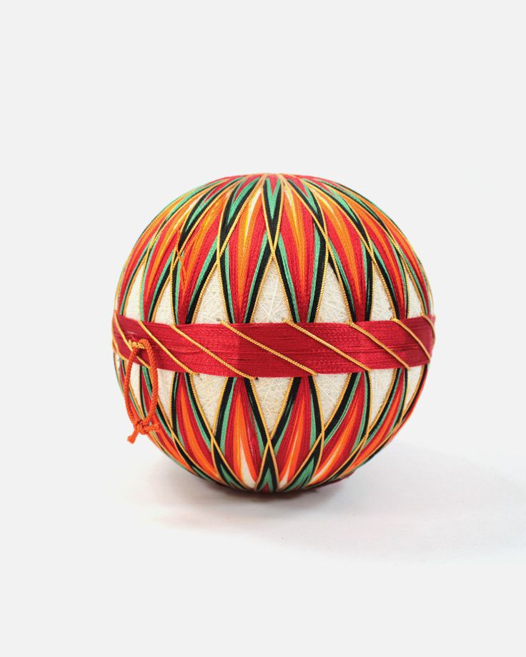 Temari (手まり) were originally introduced in Japan in the 7th century. The balls are meticulously handmade with tightly wrapped fabric and thread, displaying brilliant colors and patterns. Some are wrap