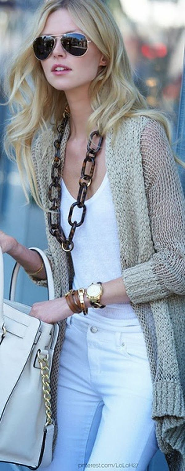 Over Sizer Sweater With Ray Bans and White Jeans