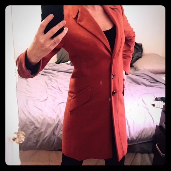Hugo Boss fully lined, knee length coat brand new! This Hugo Boss Orange coat has never been worn. It's beautifully cut with a thick inside lining. The color is like a light rust, or dark orangey coral. Virgin wool Hugo Boss Jackets & Coats Blazers