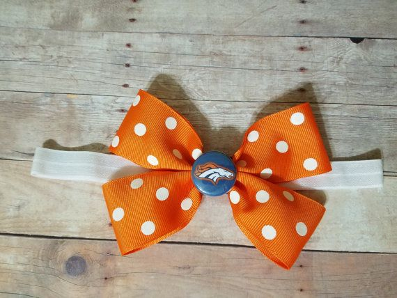 Denver Broncos headband-DENVER Broncos hair bow-Broncos
