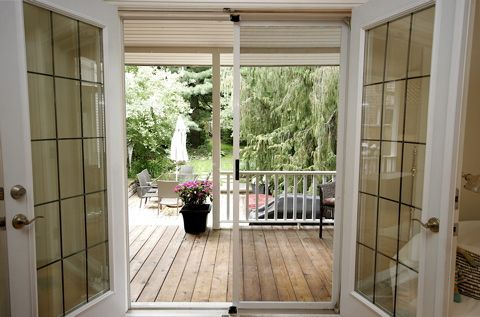 Hillsdale house--view to the backyard, french doors