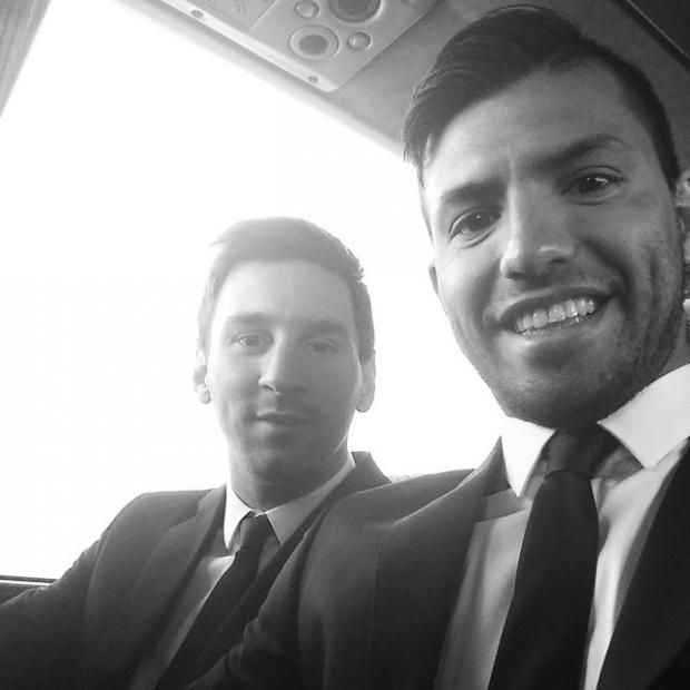 A suited and booted Lionel Messi and Sergio Aguero go for the sultry black and white look