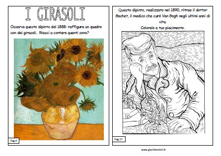Van gogh spiegato ai bambini disegni da colorare van gogh for Disegni di girasoli da colorare