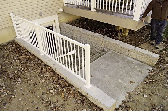 14 best outside basement stairs images on pinterest for Adding exterior basement entry