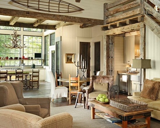 Love the use of white instead of all wood.  This lightens it up.Ideas,  Eating House'S, Livingroom, Rustic Living Rooms, Living Room Designs, Rustic Design, Traditional Living Rooms, Dungan Nequette, Rustic Cottage