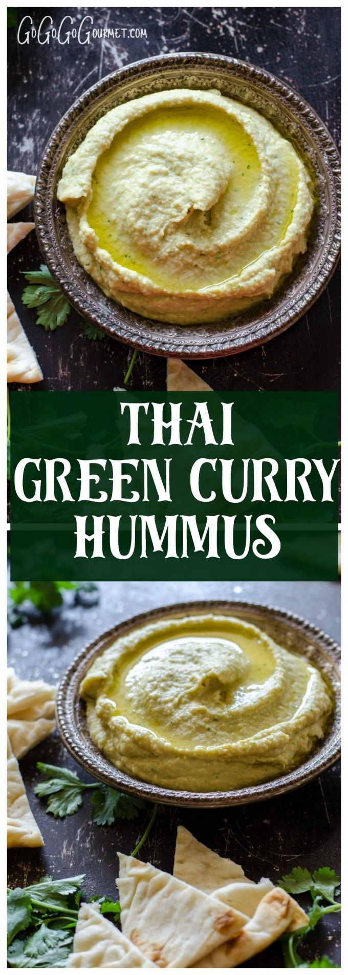 Easy, spicy and HEALTHY! You'll love this Thai Green Curry Hummus. | Go Go Go Gourmet via @gogogogourmet