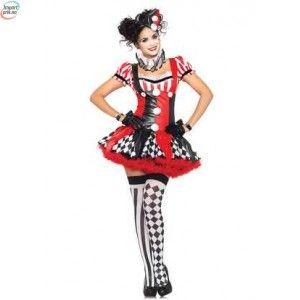 Naughty Harlequin klovne kostyme