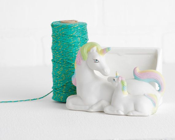 Vintage White Unicorn Figurine with Rainbow and Atlanta Zoo Image, Unicorn Decor, Mythical Home Decor, Glazed Ceramic