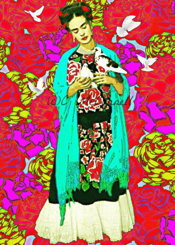 Frida Kahlo Retro Art Print Instant Digital Download Doves Boho Vintage Photomontage Roses Modern Home Deco Pink Blue Red Green Tattoo