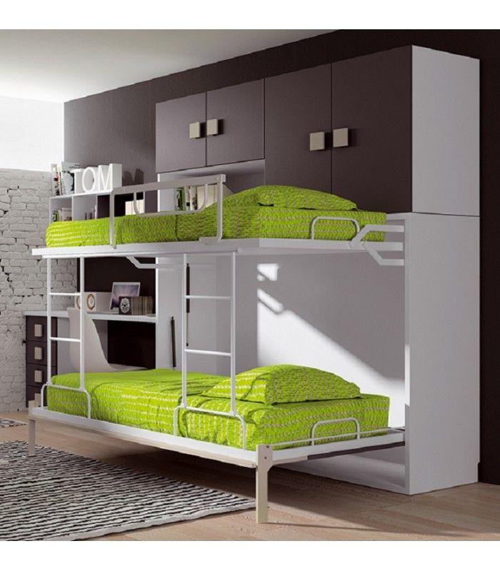 Un dormitorio que desafía las medidas de cualquier habitación. A simple vista un frontal despejado que se convierte en una litera plegable baja.